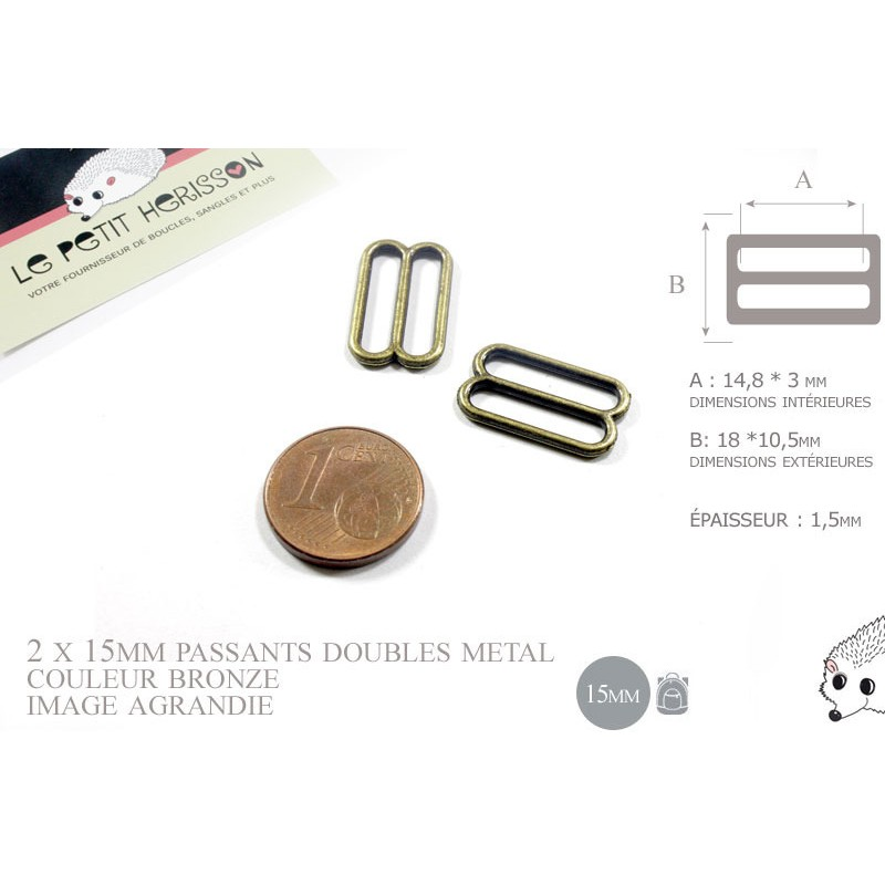 4 x 15mm Boucles Coulisse / Passants Doubles / Métal / Petite / Bronze
