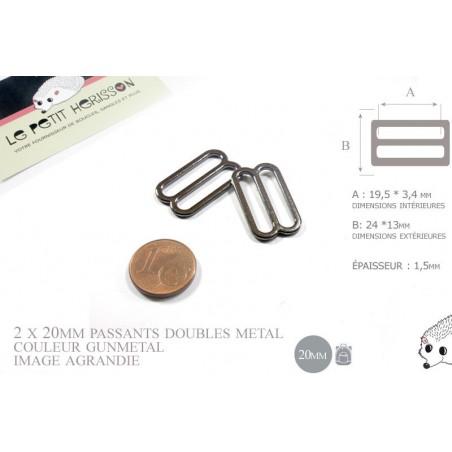 2 x 20mm Boucles Coulisse / Passants Doubles / Métal / Petite / Gunmetal