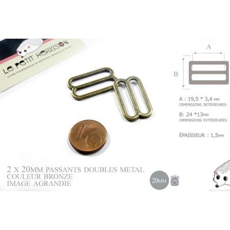 2 x 20mm Boucles Coulisse / Passants Doubles / Métal / Petite / Bronze