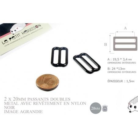 2 x 20mm Boucles Coulisse / Passants Doubles / Métal / Revêtement en Nylon / Petite / Noir