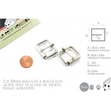 2 x 20mm Boucles à rouleau / Métal / Nickel
