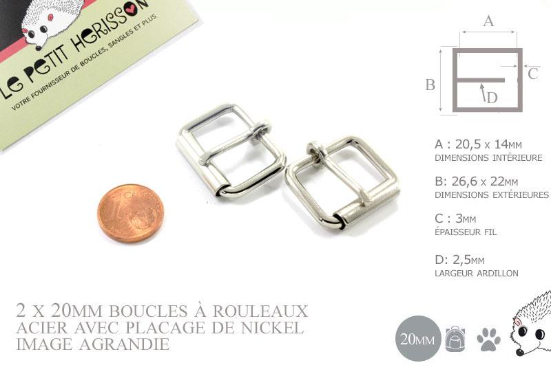 2 x 20mm Boucles à rouleau   Métal   Nickel 6311b44b495