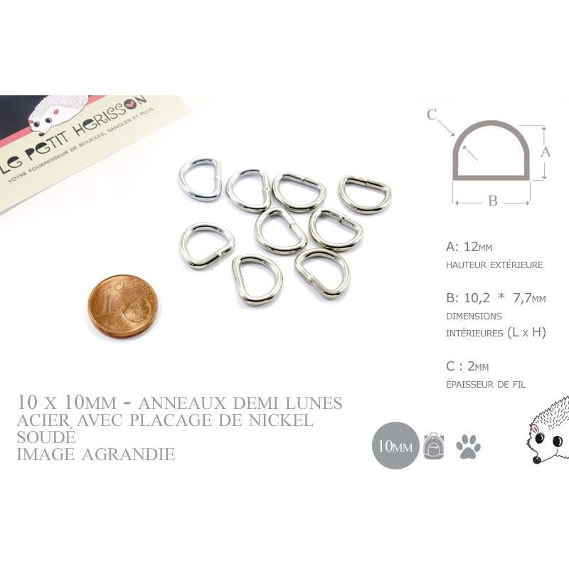 10 x 10mm Anneaux demi lunes / Metal / Acier / Soudé / Nickel