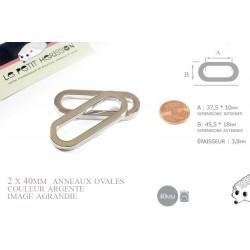 2 x 38mm Anneaux Ovales / Métal / Argente / Nickel