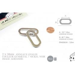2 x 30mm Anneaux Ovales / Métal / Argente / Nickel