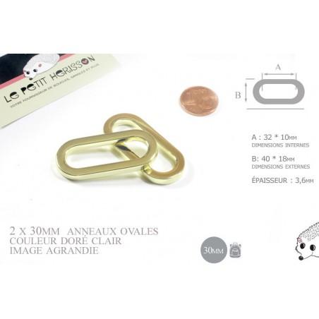 2 x 30mm Anneaux Ovales / Métal / Dore Jaune