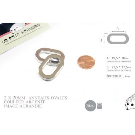 2 x 20mm Anneaux Ovales / Métal / Argente / Nickel
