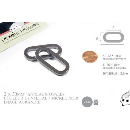 2 x 30mm Anneaux Ovales / Métal / Gunmetal