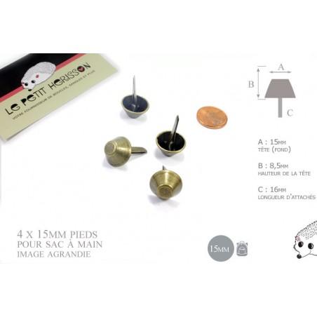 4 x 15mm Pieds pour Sac a Main / Métal / Bronze Antique