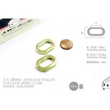 2 x 20mm Anneaux Ovales / Métal / Dore Jaune