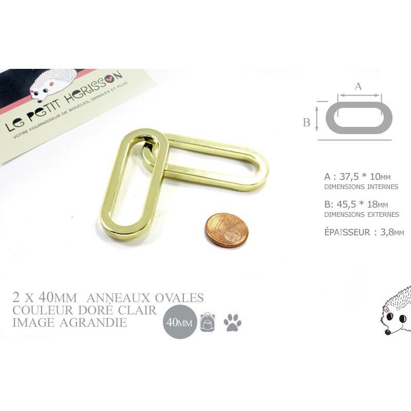 2 x 38mm Anneaux Ovales / Métal / Dore Jaune