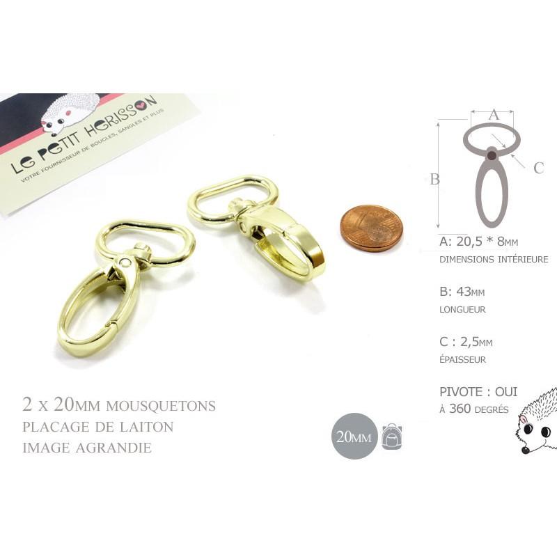 2 x 20mm Mousquetons Pivotants / Métal / Laiton Clair / Dore Jaune / Style 3