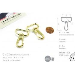 2 x 20mm Mousquetons Pivotants / Métal /  Laiton Clair / Dore Jaune / Style 2