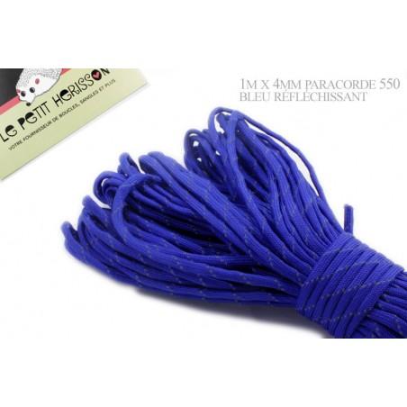 1m x 4mm Paracorde 550 / réfléchissant / bleu