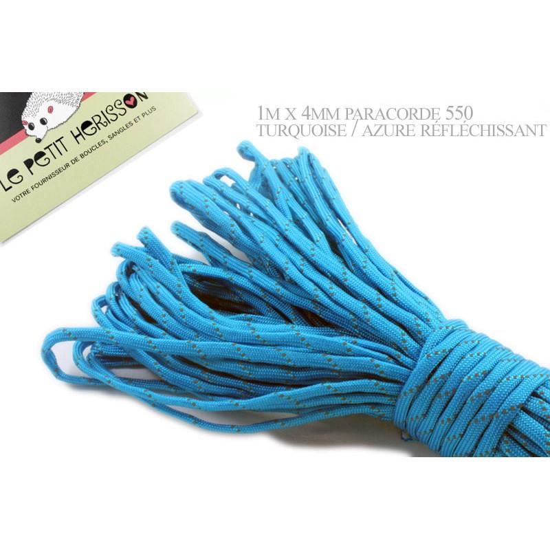 1m x 4mm Paracorde 550 / réfléchissant / turquoise / azure