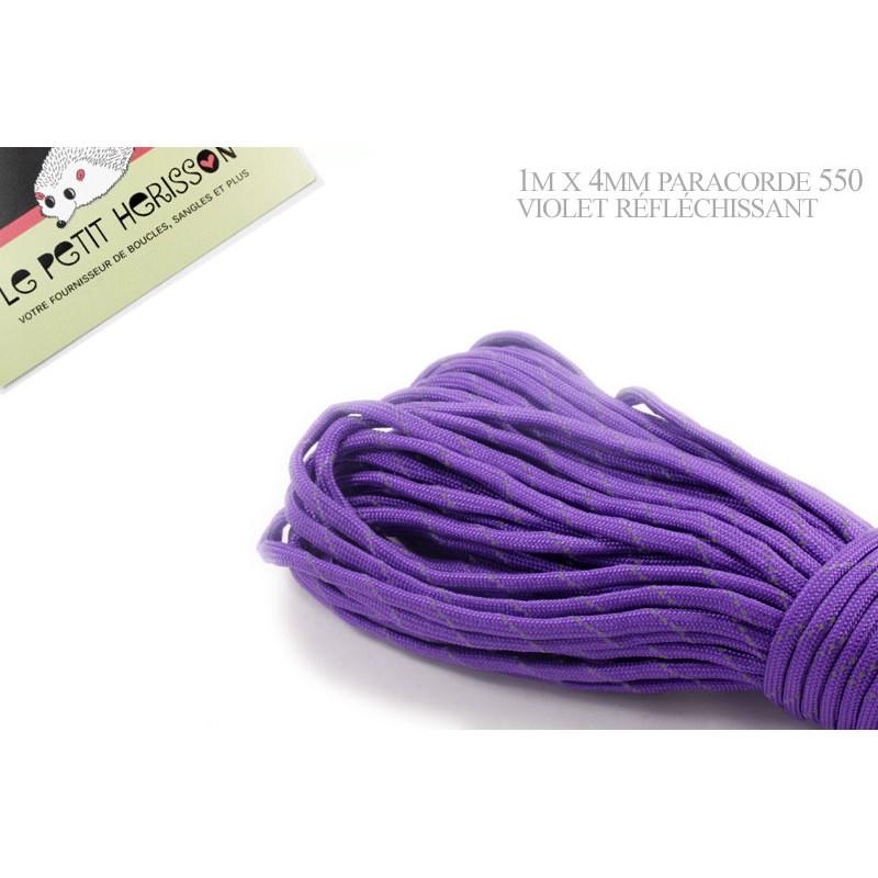 1m x 4mm Paracorde 550 / réfléchissant / violet