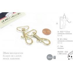 2 x 20mm Mousquetons Pivotants / Métal / Laiton Clair / Dore Jaune /Style 1
