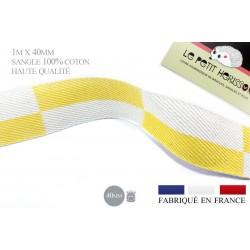 1m x 40mm Sangle / 100% coton / Fabriqué en France / jaune et blanc