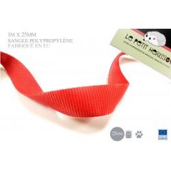 1m x 25mm Sangle / Polypropylène / Moyen / Fabriqué dans l'ue / rouge