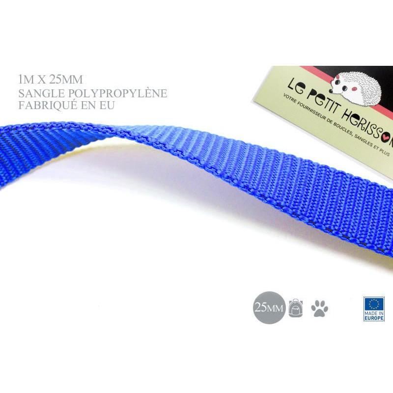 1m x 25mm Sangle / Polypropylène / Epais / Fabriqué dans l'ue / bleu