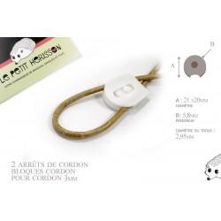 2 Arrêts de cordon / Plat / Plastique /  blanc
