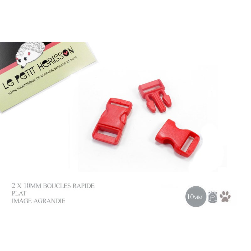 2 x 10mm Boucles Attache Rapide / Fermoirs Clips / Plastique /plat - rouge