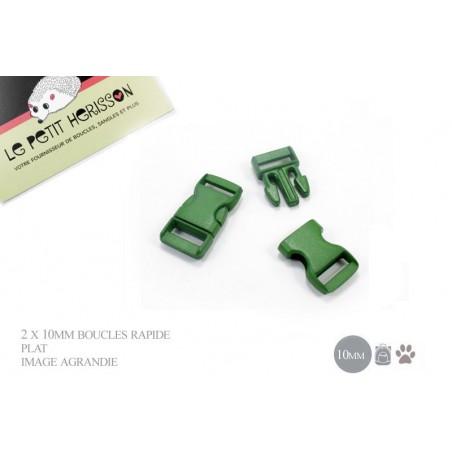 2 x 10mm Boucles Attache Rapide / Fermoirs Clips / Plastique /plat - vert fonce