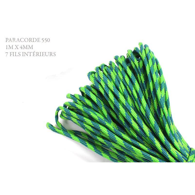 1m x 4mm Paracorde 550 / 35 motif / vert jaune bleu