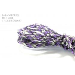 1m x 4mm Paracorde 550 / 32 motif / violet blanc gris