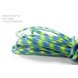 1m x 4mm Paracorde 550 / 26 motif / bleu azure jaune motif