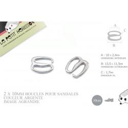 2 x 10mm Boucles pour sandales / Métal / Argente / Style2