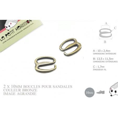 2 x 10mm Boucles pour sandales / Métal / Bronze / Style2
