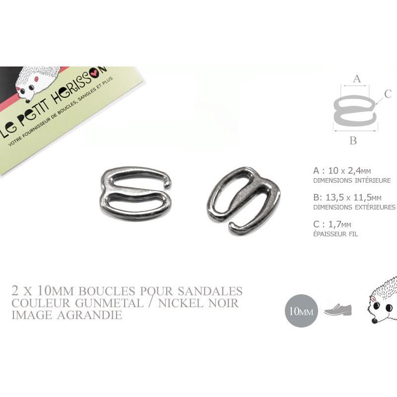 2 x 10mm Boucles pour sandales / Métal / Gunmetal / Style2