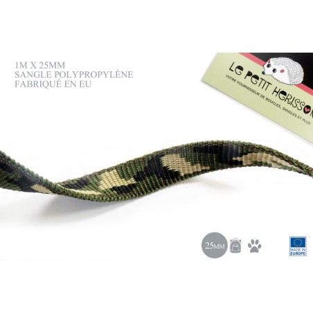 1m x 25mm Sangle / Polypropylène / Epais / Fabriqué dans l'ue / camouflage