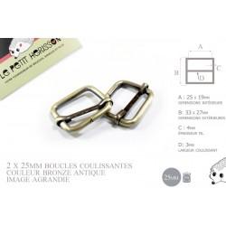 2 x 25mm Boucles Coulissantes / Boucles Réglables /  Metal / Laiton Vieilli / Laiton Brossé