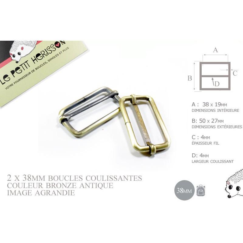 2 x 38mm Boucles Coulissantes / Boucles Réglables /  Metal / Laiton Vieilli / Laiton Brossé