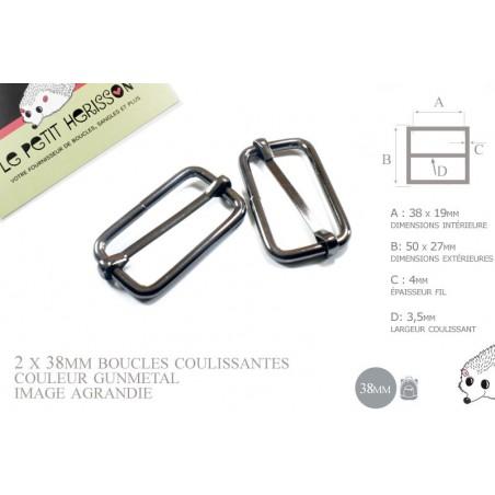 2 x 38mm Boucles Coulissantes / Boucles Réglables / Métal / Gunmetal (noir)