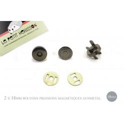 2 x 18mm Fermoirs Magnétiques / Epais / Gunmetal