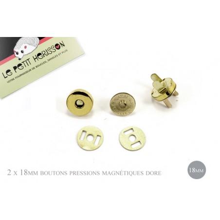 2 x 18mm Fermoirs Magnétiques / Epais / Dore Jaune