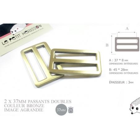 2 x 37mm Boucles Coulisse / Passants Doubles / Métal / Laiton Vieilli
