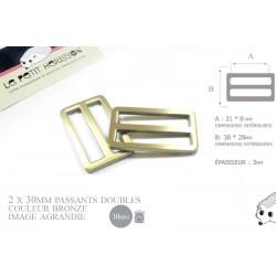 2 x 30mm Boucles Coulisse / Passants Doubles / Métal / Laiton Vieilli