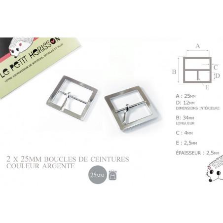 2 x 25mm Boucles de ceintures / Métal / Argente / Carré