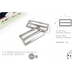 2 x 50mm Boucles Coulisse / Passants Doubles / Metal / Argente / Style 3