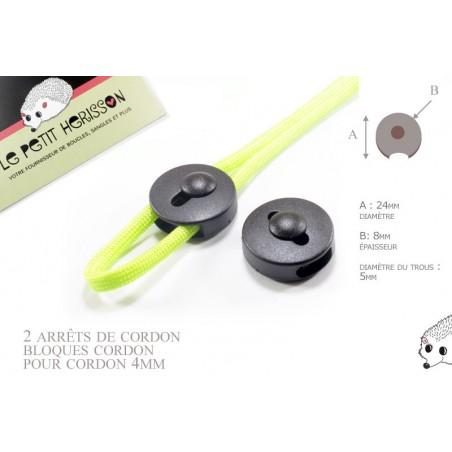 2 Arrêts de cordon / Plat / Plastique /  Noir