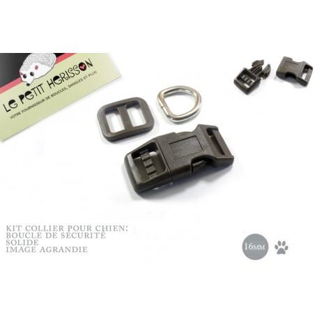 Kit Collier Pour Chien: 16mm / haute qualité / marron fonce