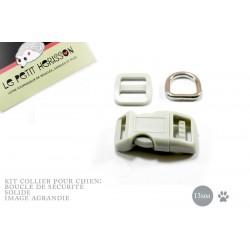 Kit Collier Pour Chien: 13mm / haute qualité / gris clair