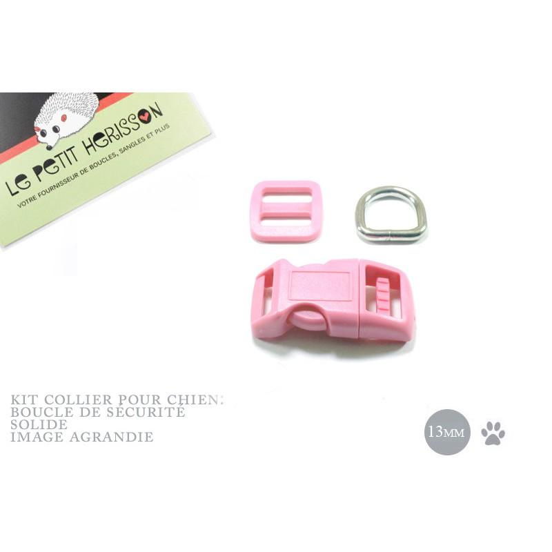 Kit Collier Pour Chien: 13mm / haute qualité / rose clair