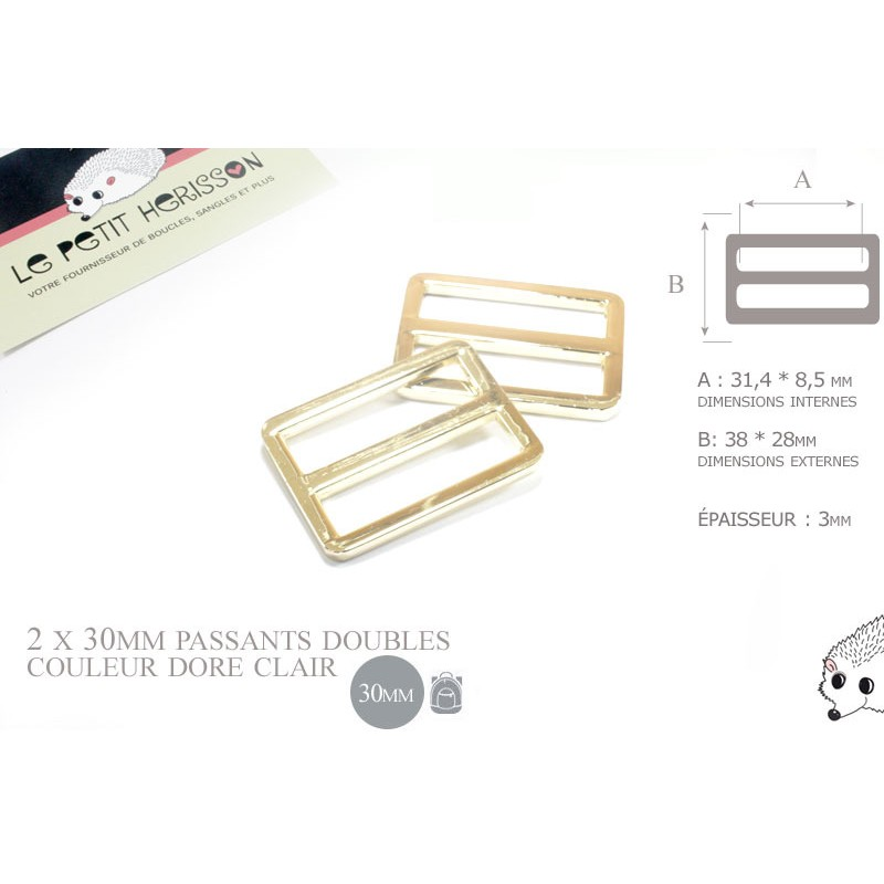 2 x 30mm Boucles Coulisse / Passants Doubles / Métal / Dore Clair