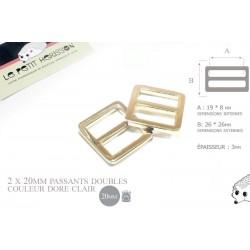 2 x 20mm Boucles Coulisse / Passants Doubles / Métal / Dore Rose