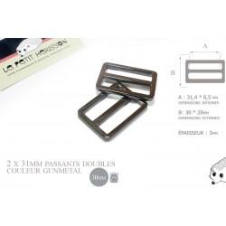 2 x 30mm Boucles Coulisse / Passants Doubles / Métal / Gunmetal